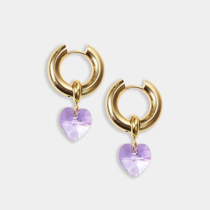 Lavender Heart Crystal Hoops
