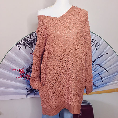 """""""Fall Forever"""" Popcorn Sweater - Salmon"""