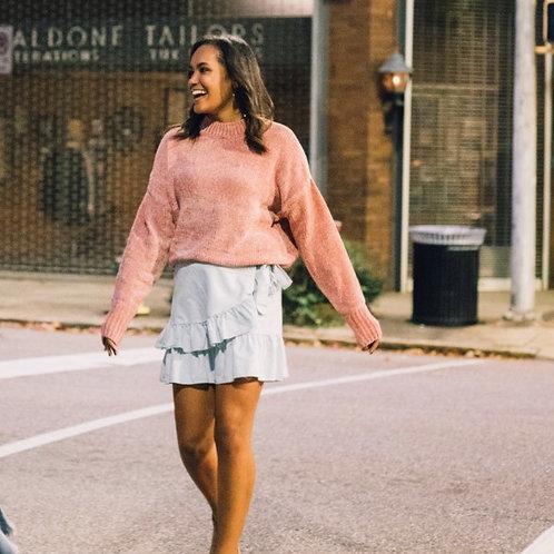 """Warm Hugs"" Chenille Sweater - Blush"