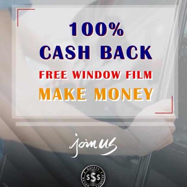 100% CASH BACK window film