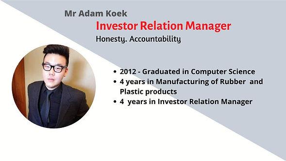 ADAM KOEK. Investor Relation Manager at