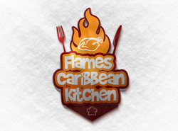 Flames Caribbean Kitchen Logo mockup