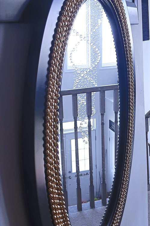 Gold & Black Oval Mirror