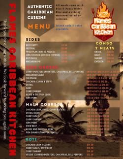 Flames Caribbean Kitchen Menu