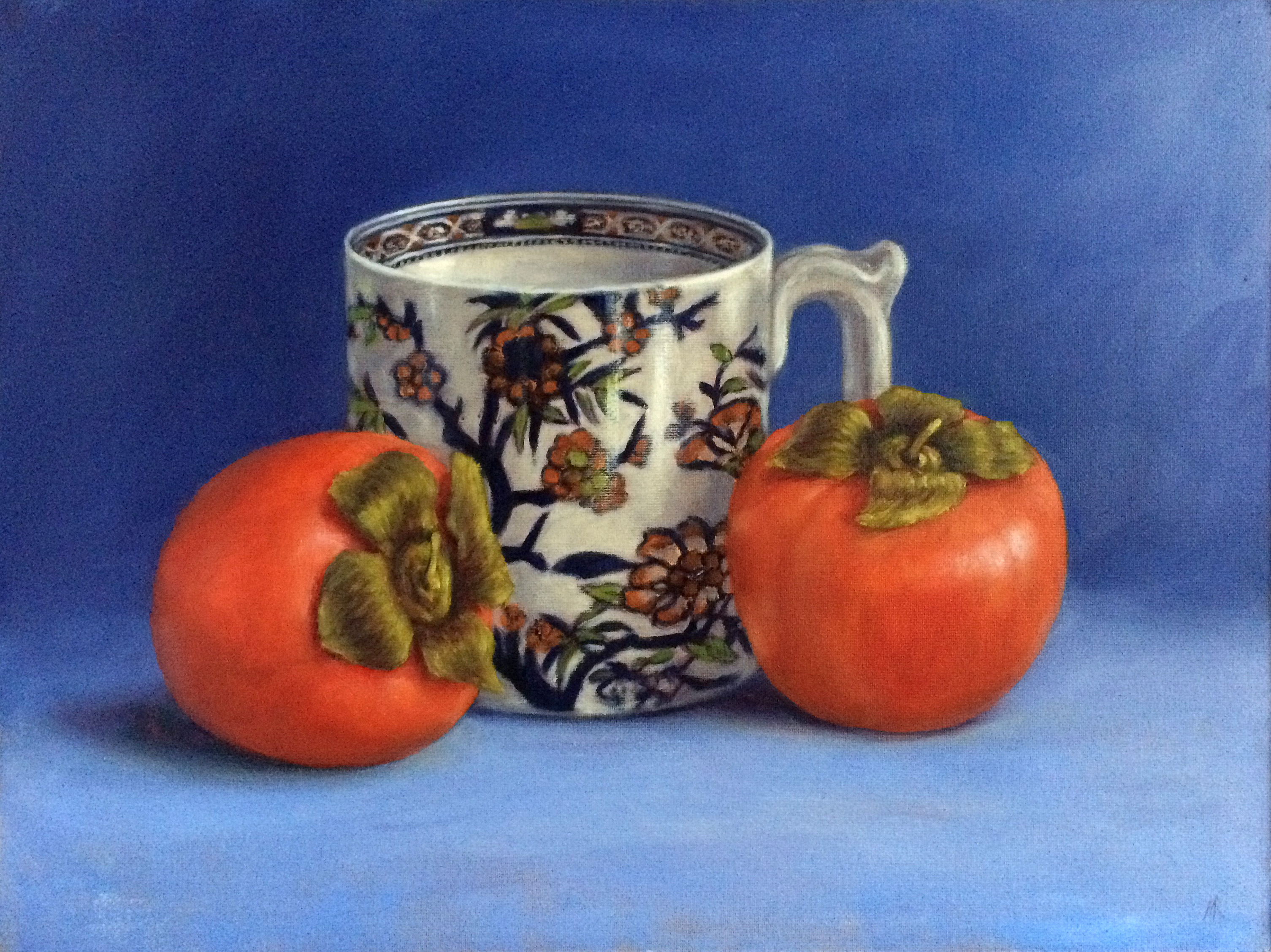 Persimmons on Blue