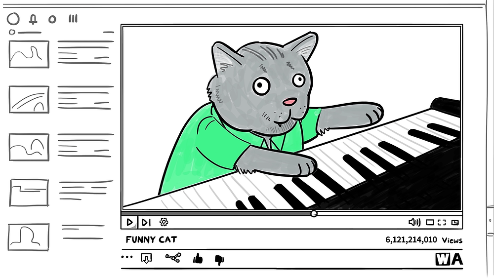 Cat Piano White Board Animation