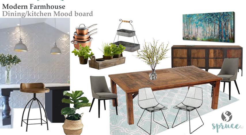 Modern farmhouse dining moodboard