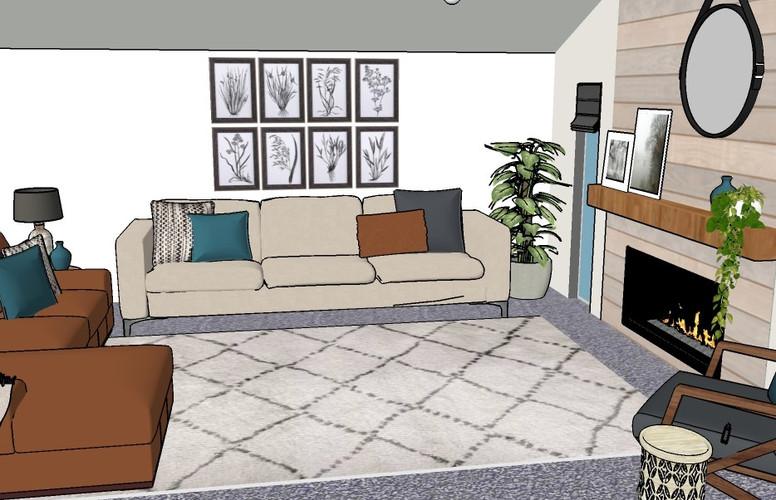 Modern farmhouse living room render
