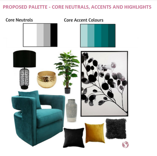 Black, teal and gold moodboard