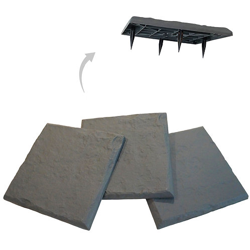 Slate Grey Decorative Stepping Stone with Ground Stakes