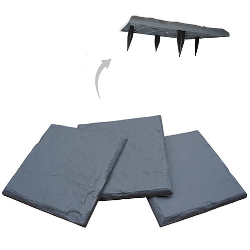 """15.5"""" Slate Grey Decorative Stepping Stone with Ground Stakes"""