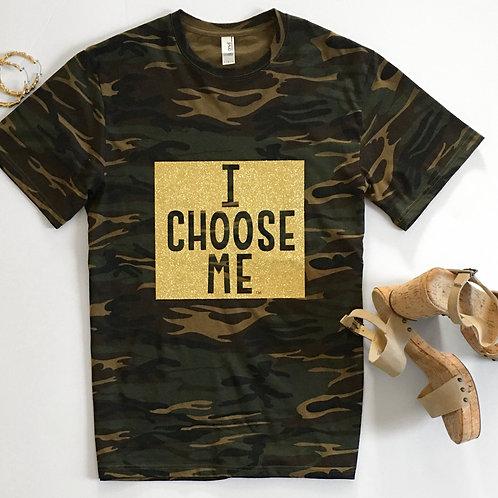 Camo Gold Bling Short Sleeve T-Shirt, Full Square I CHOOSE ME logo
