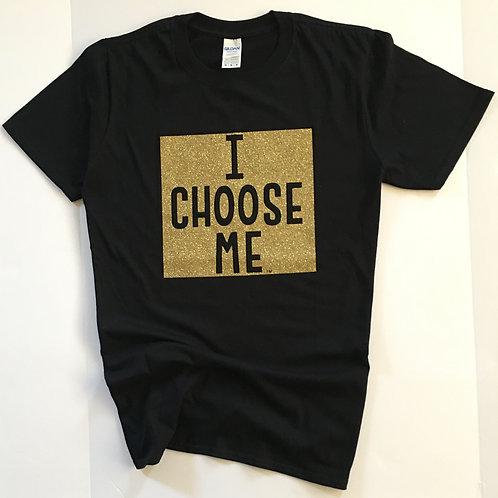 Gold Bling T-shirt with Full Square I CHOOSE ME logo