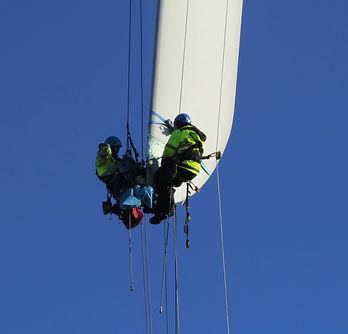 Pågående renovering av vindkraftsblad