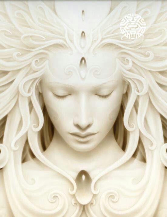 serene meditating face
