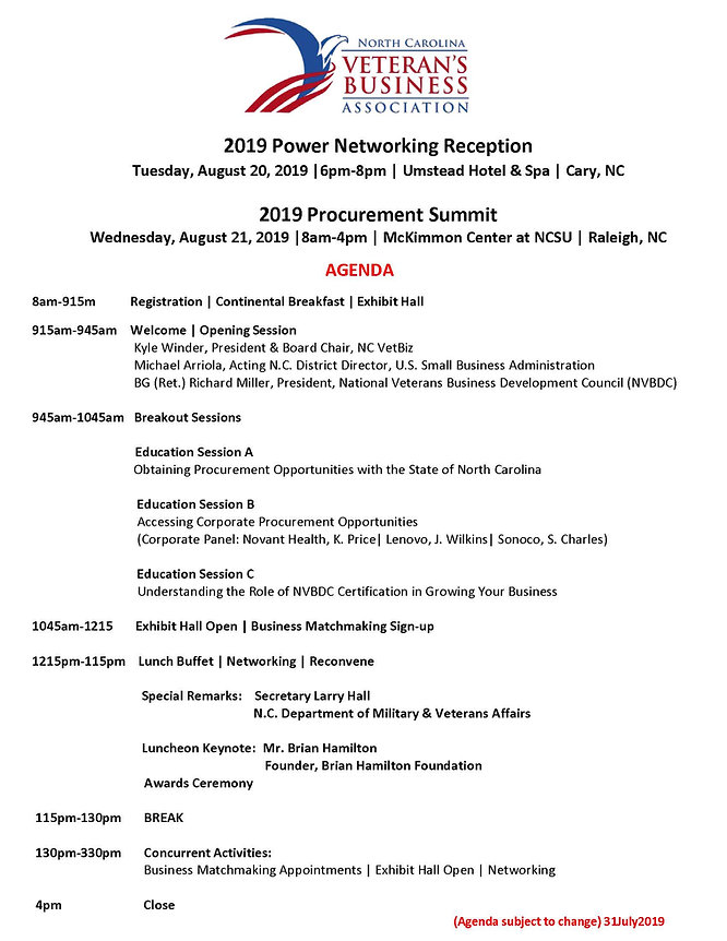 NC VetBiz WEB 2019 Proc Summit Agenda 31