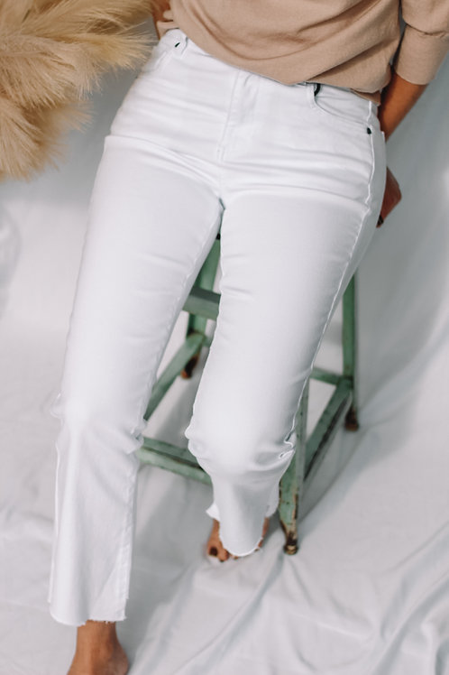 Kelsey High Rise Ankle Flare (White)