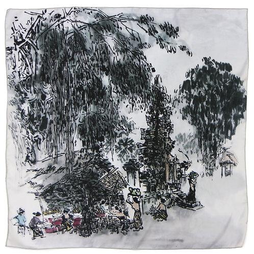 Street-side Stalls by Lim Tze Peng-Silk Print