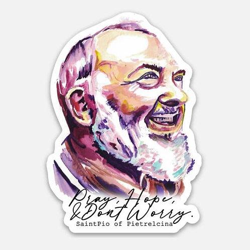 Padre Pio Vinyl Sticker