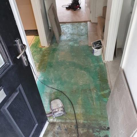 Before - Tiled Hallway