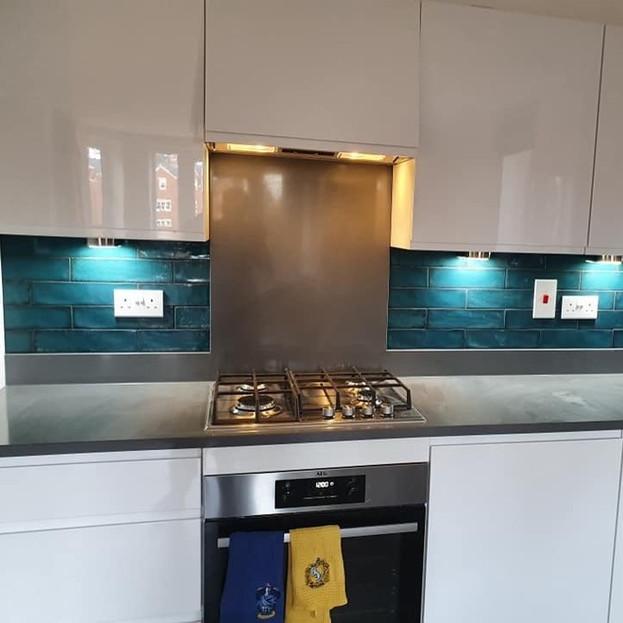After - Blue Kitchen Splashback