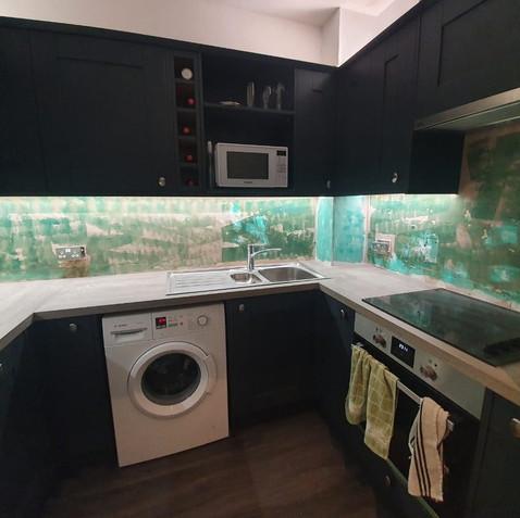 Before - Dark Grey Kitchen Splashback
