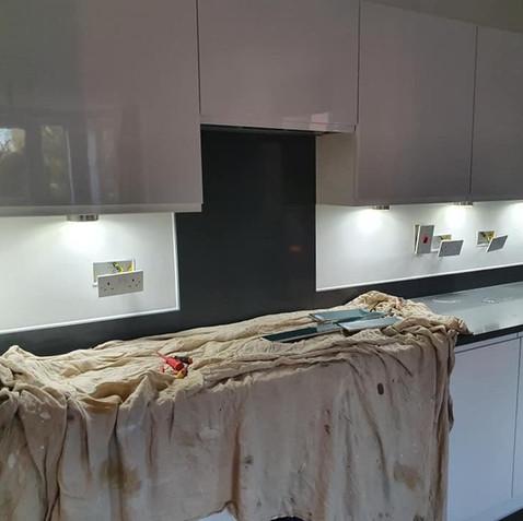 Before - Blue Kitchen Splashback