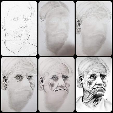 Making of skin tone pastel portraits using pastel pencils