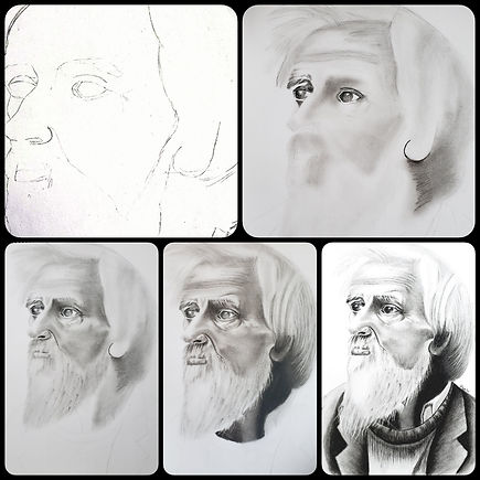 Making of charcoal portrait