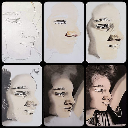 Making of skin tone pastel portraits using pastel pencils