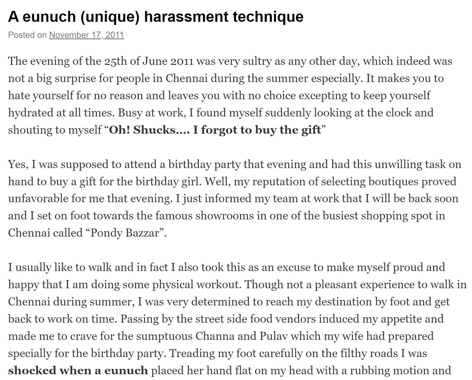 A eunuch experience