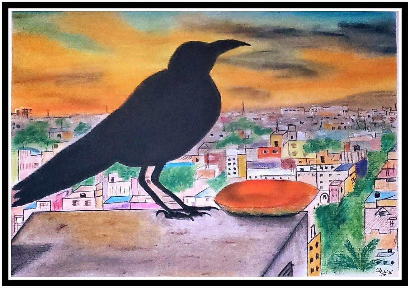Blacky the crow in soft pastel