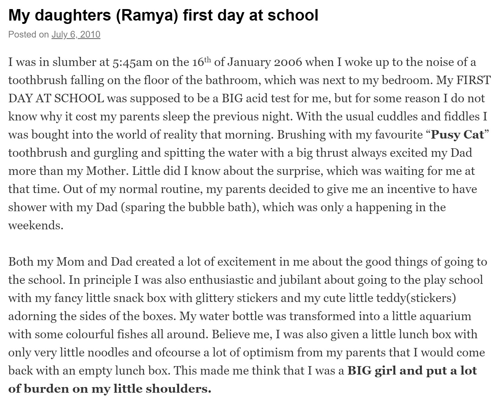 Ramyas first day at school