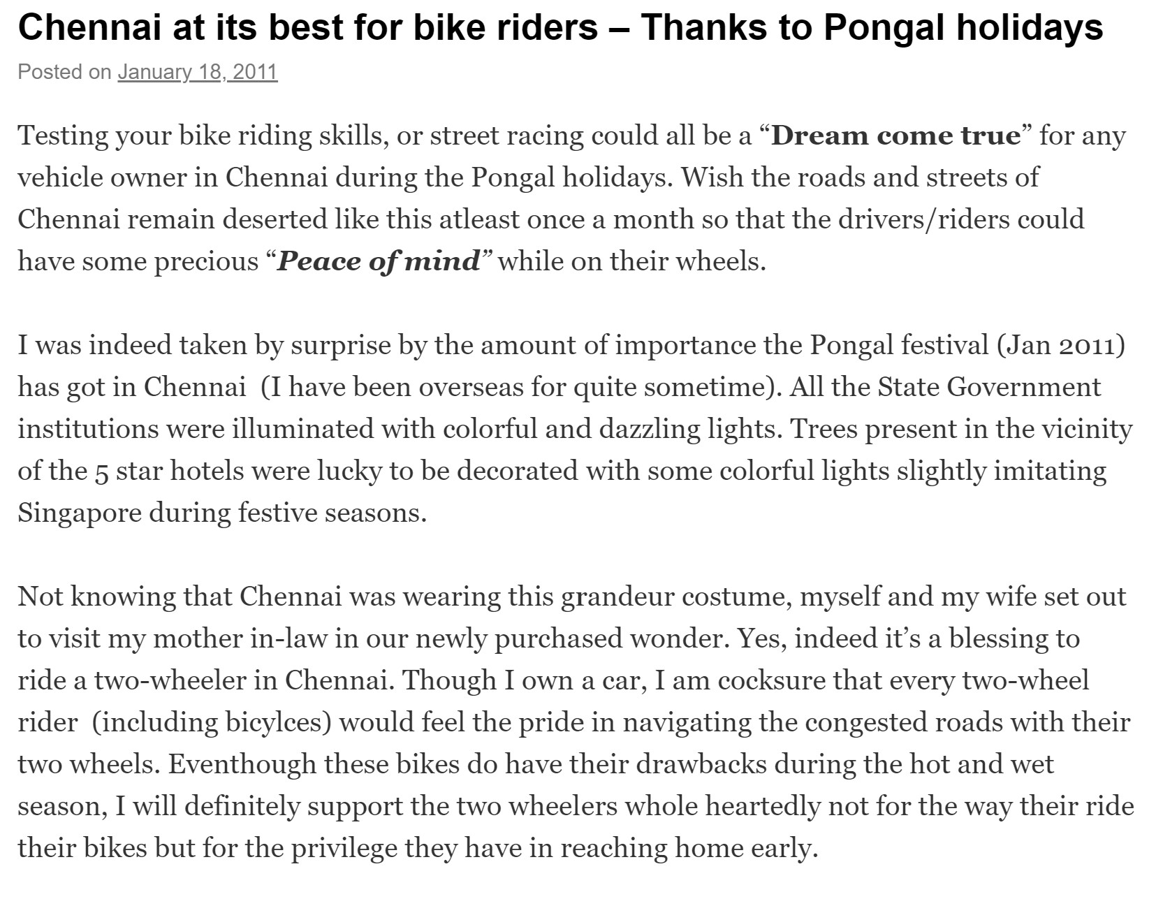 Chennai best for bike riders