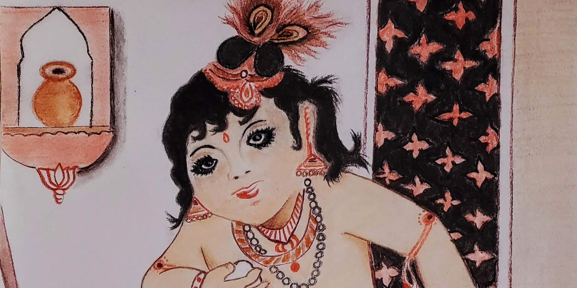 Lord Krishna in Pastel