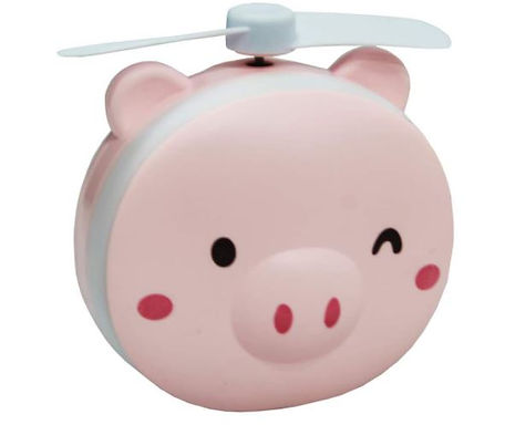 Mini Ventilador porquinho 3 em 1