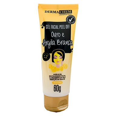 Gel Facial Peel Off Ouro com Argila Branca Dermachem