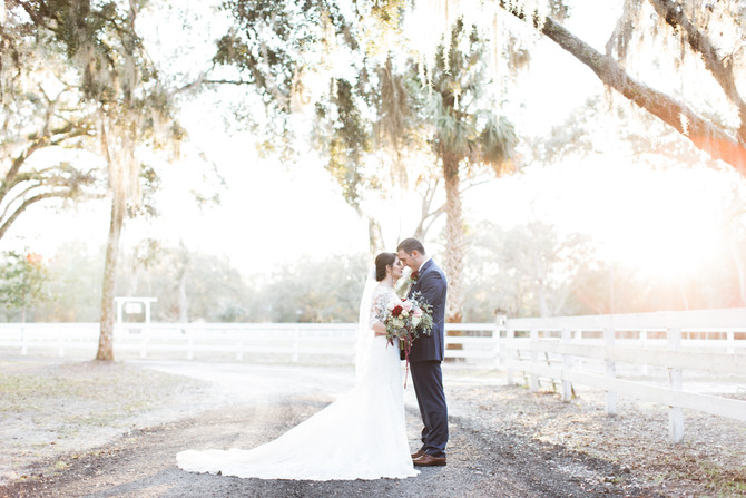 Burgundy Inspired Winter Wedding at Chandler Oaks Barn in St. Augustine, FL