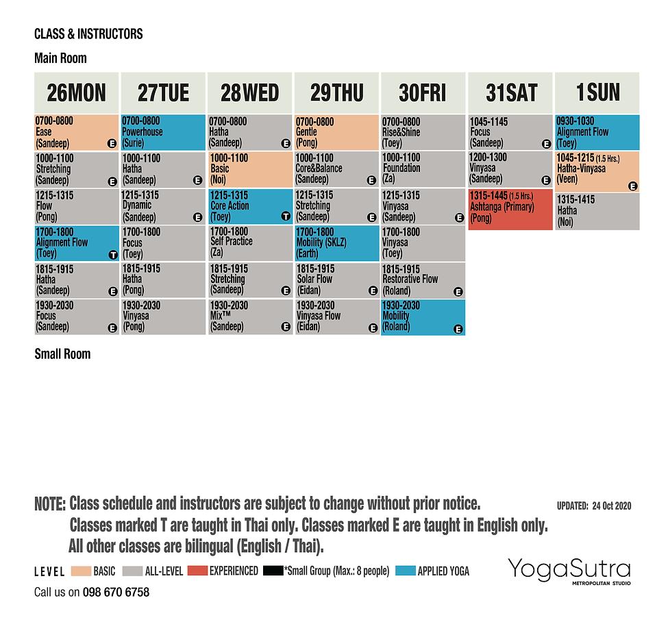 timetable yoga sutra 26 oct - 1 nov 2020