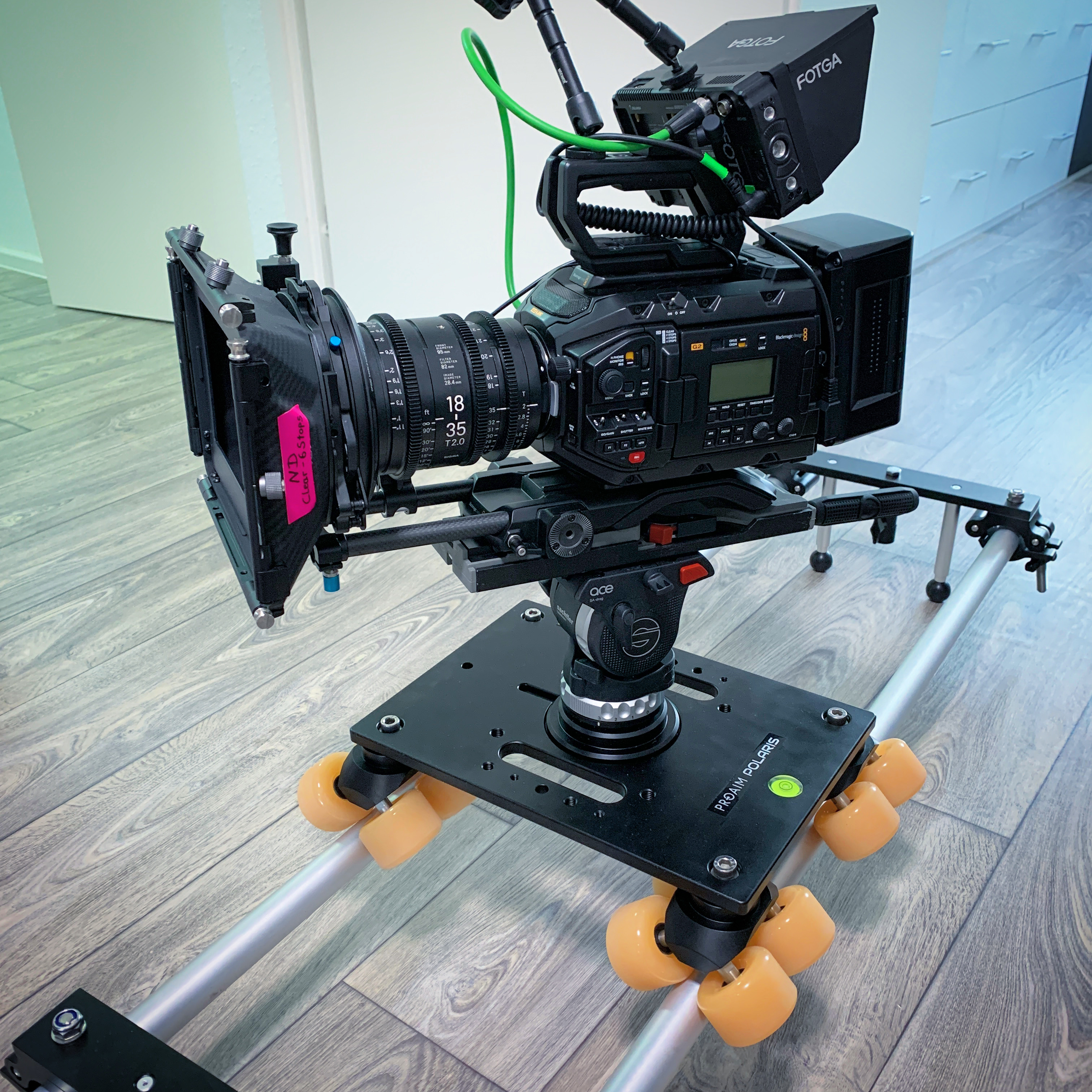 Kamera auf Slider-Dolly