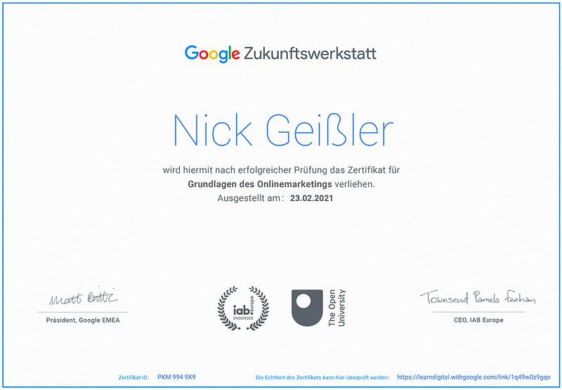 "Google Zertifiktat ""Grundlagen des Onlinemarketings"""