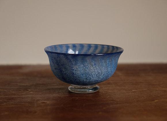 高台付きぐい吞み・青 | blue sake cup