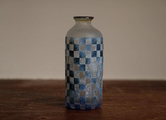 一輪挿し・格子青 | blue lattice vase