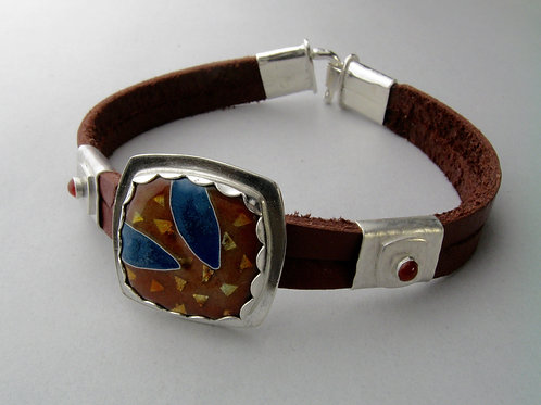 Enamel and Leather Bracelet