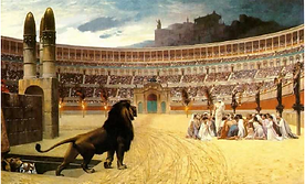 Picture of Christians in a lion's den.