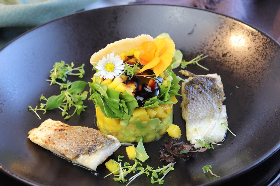 IMG_9330.JPG Wolfsbarsch   Avocado Mango Tower   Fisch   gesund und köstlich