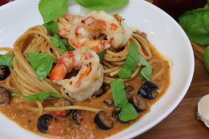 IMG_0902.JPG Spaghetti mit Riesengarnelen
