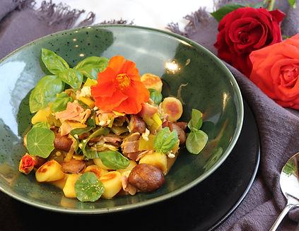 IMG_9636.JPG gesund und köstlich | schnelles Essen | Gnocchi | Gnocchis mit Lauch, Pilzen und Hinterschinken | gesund | Lauch | braune Champignons