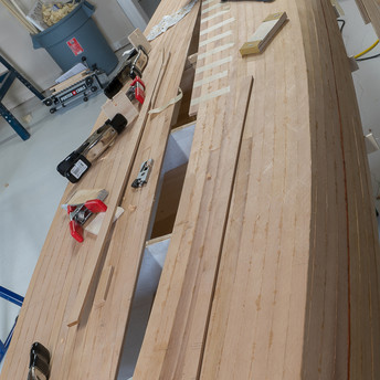 FITTING STRIPS TO KEEL LINE