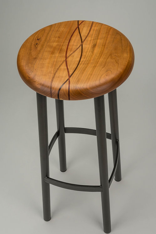 #202 Standard Stool Tall - Cherry/Waves/Charcoal